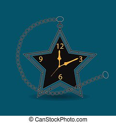 Retro Star Shape Pocket Watch with Chain Vector Illustration