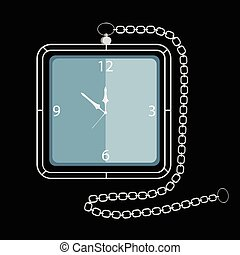 Pocket Watch with Chain Vector Illustration