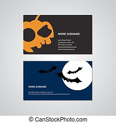set of two Halloween business cards - USA standard
