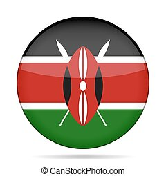 button with flag of Kenya - button with national flag -...
