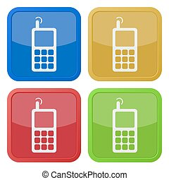 set of four square icons - old mobile phone