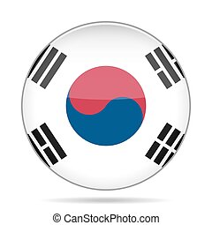 button with flag of South Korea