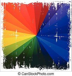 Grunge Rainbow Burst Background