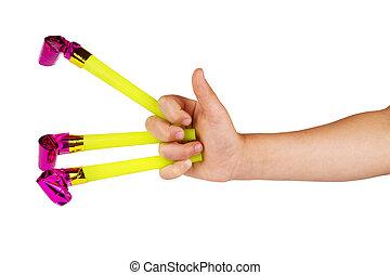 niños, juguete, mano