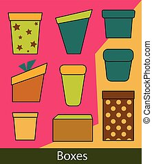 Set of Gift Boxes Clipart