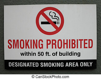 Smoking Prohibited within 50 ft of building, designated...