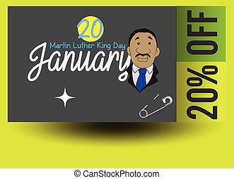 Martin Luther King Day Discount Coupon Vector Illustration
