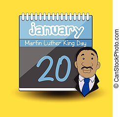 Martin Luther King Day Calendar u2013 Character Vector...