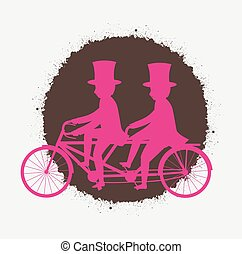 Tandem Cyclist Grunge Silhouettes Vector Illustration