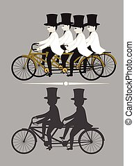 Tandem Cyclist Vector Illustration