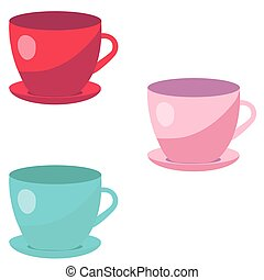 Colorful cups isolated on white background