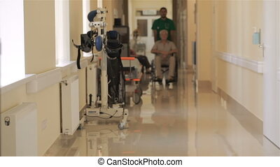 Doctor pushes wheelchair with patient at the hospital -...