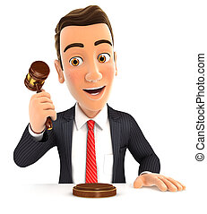 3d businessman hitting gavel, illustration with isolated...