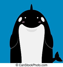 cute big fat killer whale orca on blue background
