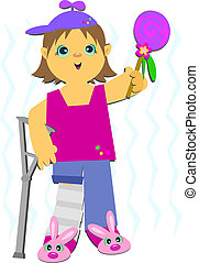 Girl in Crutches - Here is a brave Girl with a broken leg.