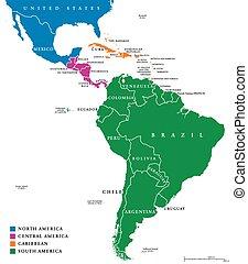 Latin America regions political map