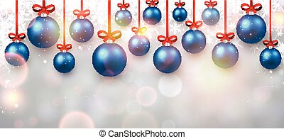 New Year banner with Christmas balls.