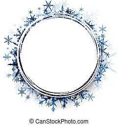 Winter round background with snowflakes. - White winter...