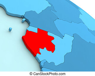 Gabon in red on blue globe - 3D illustration of Gabon...