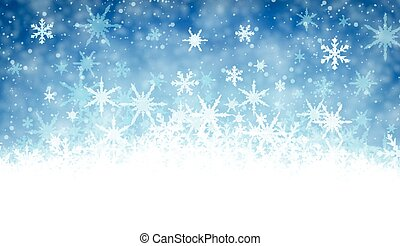 Winter background with snowflakes. - Blue winter background...