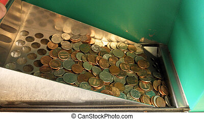 USA coins drop in to a coin counting machine - USA...