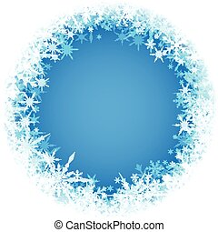 Winter round background with snowflakes. - Blue winter round...