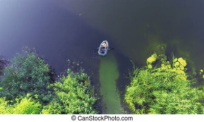 Inflatable boat - Top view of Inflatable boat on river