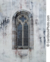 church window at Pont-Aven in - rundown church window at...