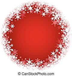 Winter round background with snowflakes. - Red winter round...