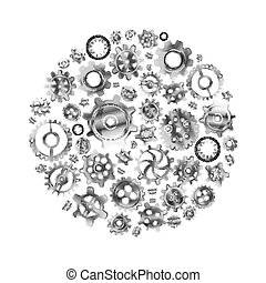 Glossy metal cogwheels arranged in a circle shape isolated...