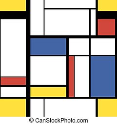 Modern painting in mondrian style, seamless pattern -...