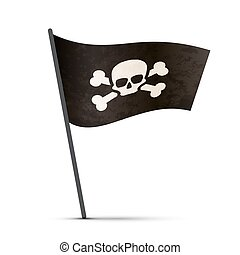 Pirate flag on a pole with shadow