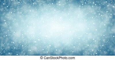 Blue winter banner with snow. Vector illustration.