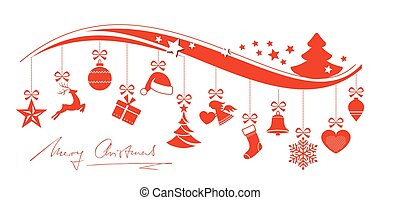 Red wavy border with hanging Christmas ornaments