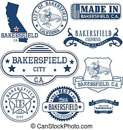 generic stamps and signs of Bakersfield city, CA - Set of...