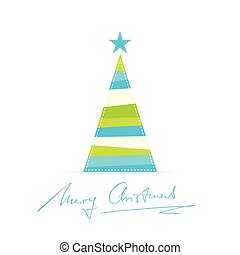Modern stylized Christmas tree with handwritten Merry...