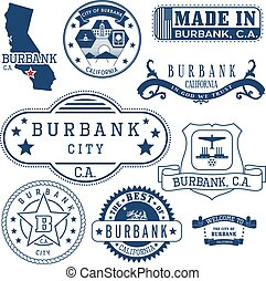 generic stamps and signs of Burbank city, CA - Set of...