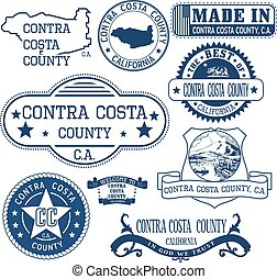 Contra Costa county, CA. Set of stamps and signs - Contra...