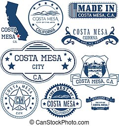 generic stamps and signs of Costa Mesa city, CA - Set of...