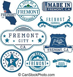 Fremont city, CA. Stamps and signs - Fremont city,...