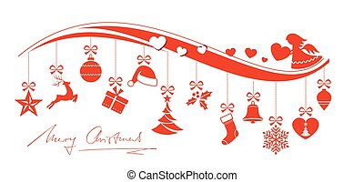Red Christmas ornaments border with angel
