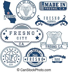 generic stamps and signs of Fresno city, CA - Set of generic...