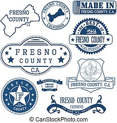 Fresno county, CA. Set of stamps and signs - Fresno county,...