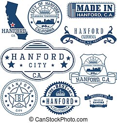 Hanford city, CA. Stamps and signs - Hanford city,...