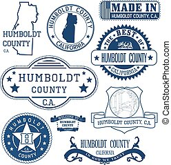 Humboldt county, CA. Set of stamps and signs - Humboldt...