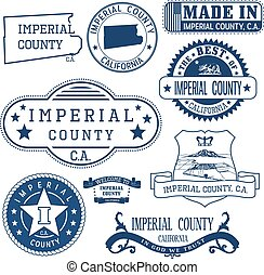 Imperial county, CA Set of stamps and signs - Imperial...