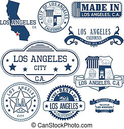 generic stamps and signs of Los Angeles city, CA - Set of...