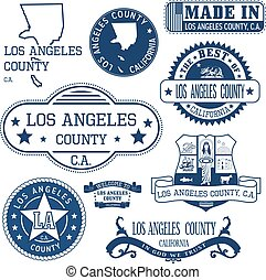 Los Angeles county, CA. Set of stamps and signs - Los...