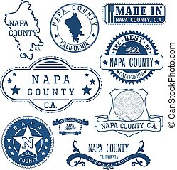 Napa county, CA. Set of stamps and signs - Napa county,...