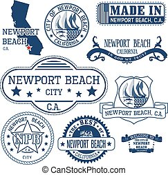 Newport Beach city, CA. Stamps and signs - Newport Beach...